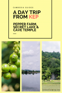 My account of a day trip from Kep, Cambodia to the La Plantation Kampot Pepper Farm, Secret Lake, and Phnom Chhngok Cave Temple. #travelguide #backpacking