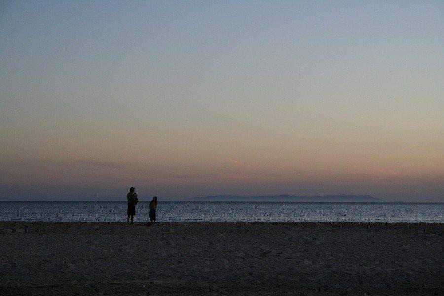 Sunset at the beach at Mediterranean sea from Tarifa beach. Spain (2011-10)