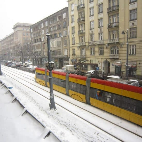 Snow and tram in Warsaw, Poland (2013-04-03)