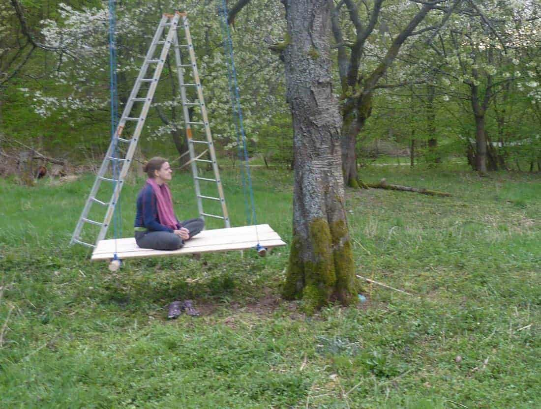Carola on a swing, Germany (2014-04)