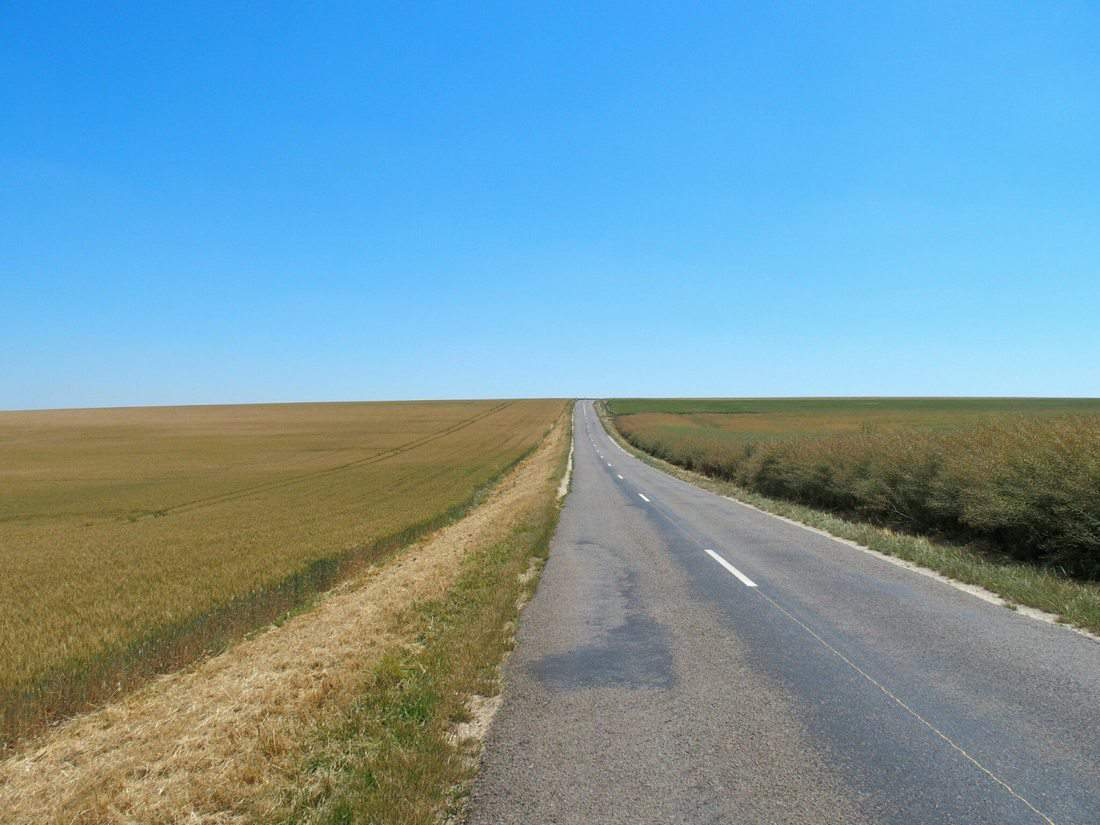 Country road along fields to the blue sky horizon (2014-07)