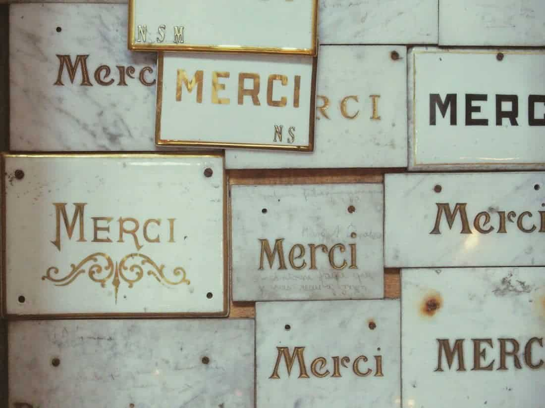 Merci writing on marble in church, France (2014-09)