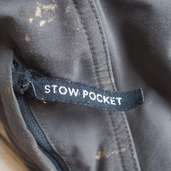 Stow pocket sign on my zip-off pants (2014-09)