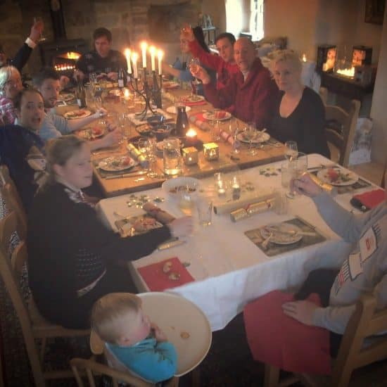Christmas dinner table at Les Moulines (2014-12-25)