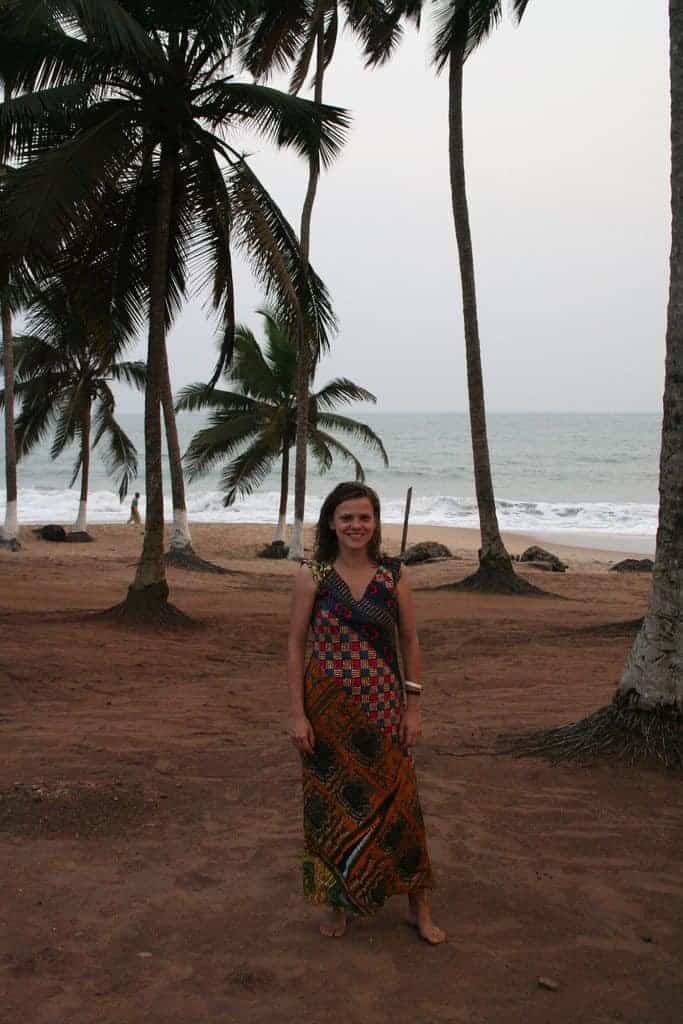 Carola in her African dress, Brenu Beach, Ghana (2011-12)