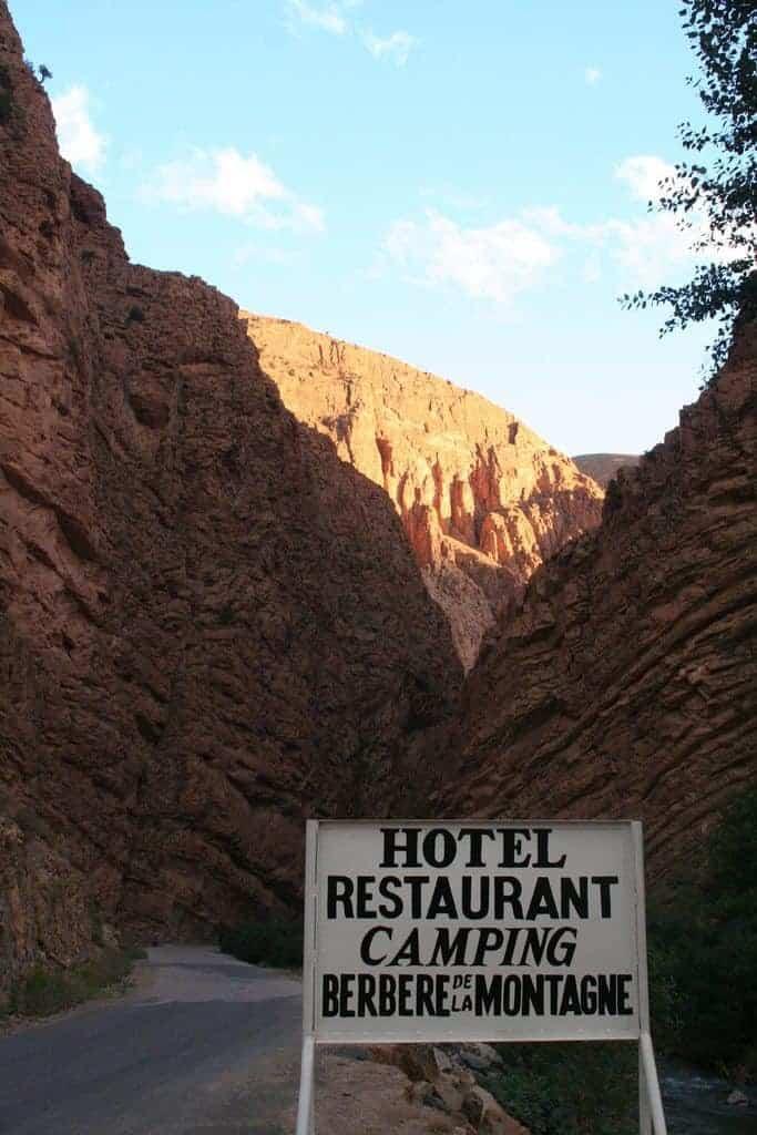 Sign for Berbere de la Montagne hotel restaurant, Morocco (2011-10)