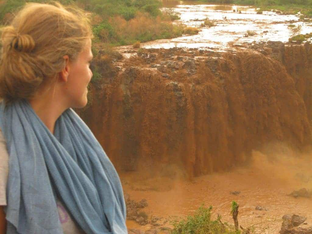 Carola at Blue Nile Falls, Ethiopia (2012-06)