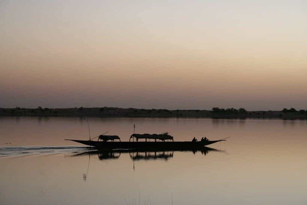 Sunset over Niger river, Mali (2011-11-23)