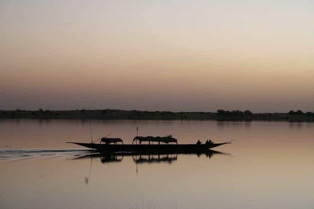 Sunset over Niger river, Mali (2011-11-23)