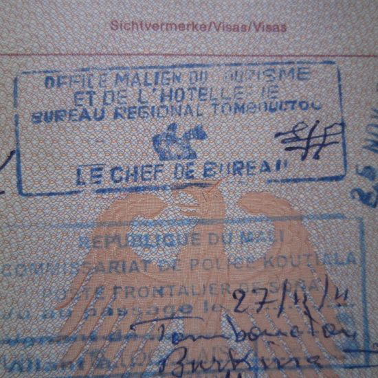 Carola's passport with the Timbuktu stamp, Mali (2011-11-25)