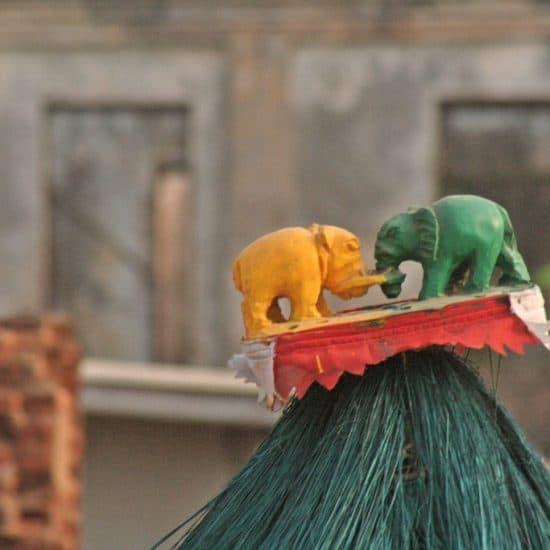 Elephant decorated hat during Vodon voodoo festival, Grand Popo, Benin (2012-01)