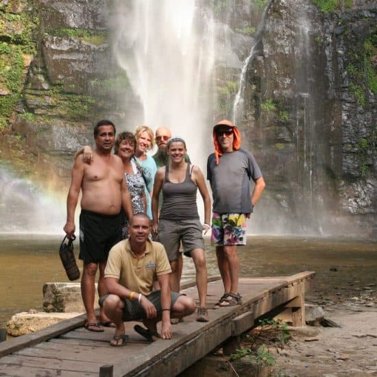 Carola with the African Trails group in Wli Falls, Ghana (2012-01)