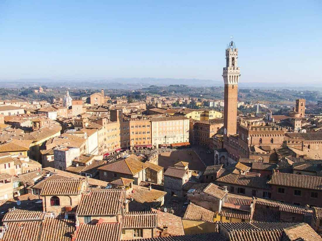 Looking down from Faccione in the cathedral onto Piazza del Campo, Siena, Tuscany, IT (2016-01-01)