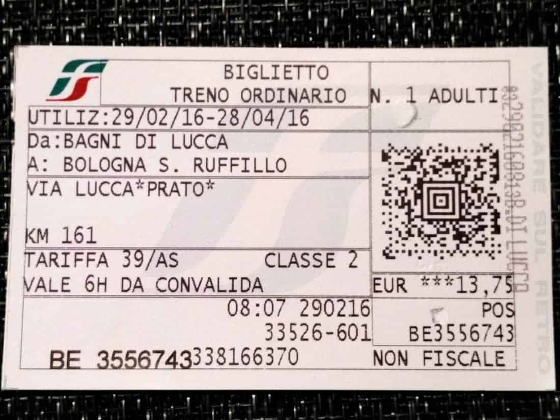 Trenitalia train ticket, Italy (2016-03-03)