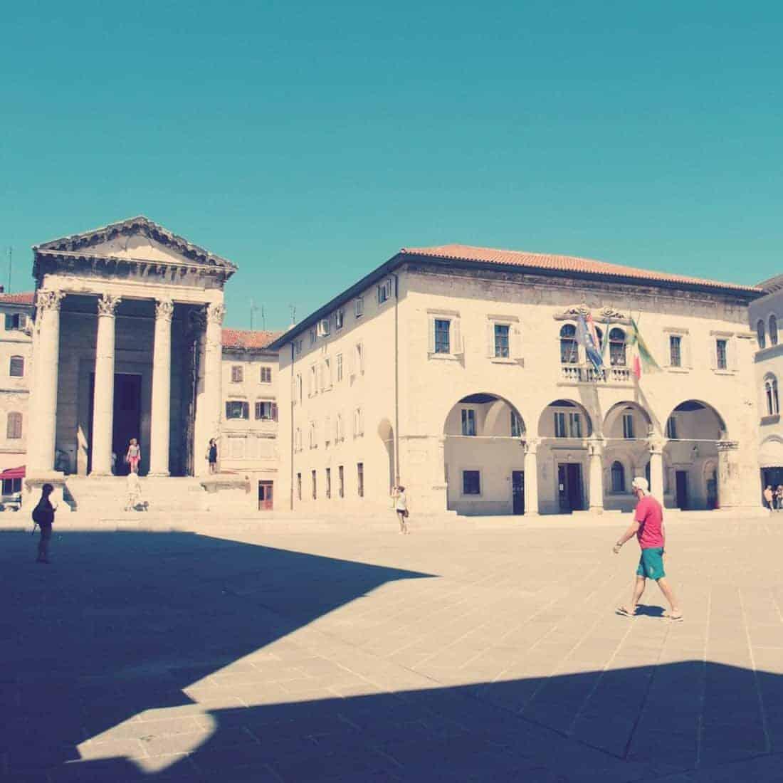 Forum square with Augustus Temple, Pula, Croatia (2016-08-27)