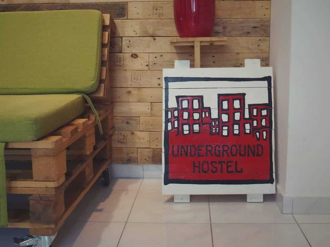 Hostel Underground Rooms sign, Pula, Croatia (2016-08-29)