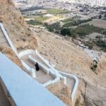 View from St George Monastery with monk heading for lunch, Jericho, Palestine (2017-01-15)