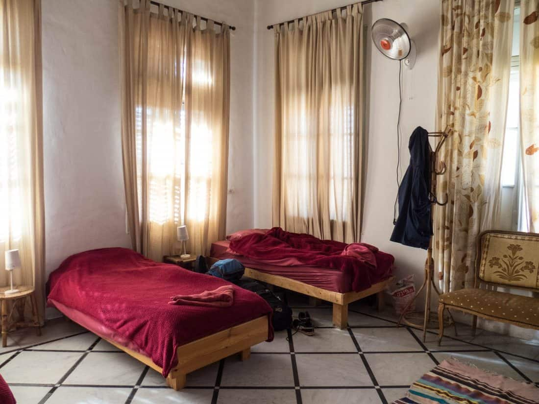 My dorm bed at the Fauzi Azar Inn, Nazareth, Israel (2017-02-03)