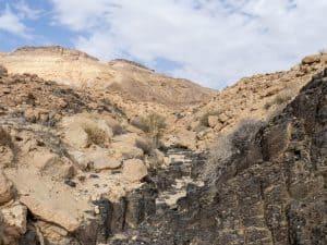 The hiking path in a dry creek in Ramon Crater, Mitspe Ramon, Israel (2017-02-08)