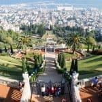 Looking from Louis Promenade into Baha'i Gardens, Haifa, Israel (2016-12)