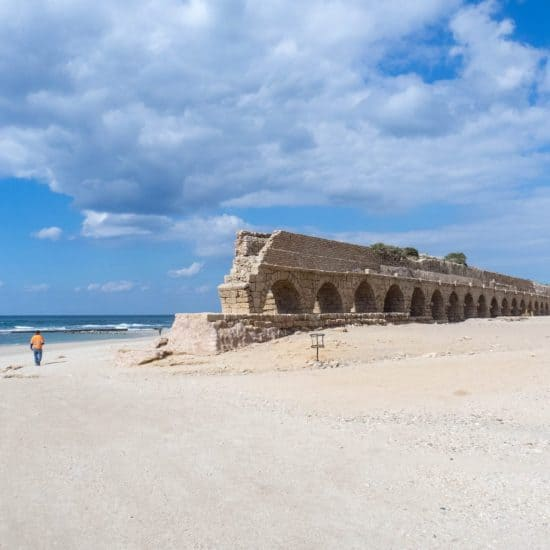Aqueduct on the beach, Caesarea, Israel (2017-02-17)