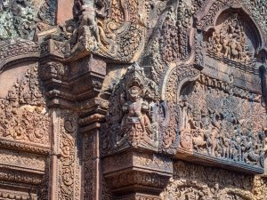 Intricate carvings at Banteay Srei, Angkor, Siem Reap, Cambodia (2017-04-10)