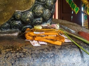 Donations to Reclining Buddha, Kulen National Park, Siem Reap, Cambodia (2017-04-12)