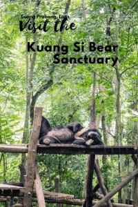 A day trip to Kuang Si, about 45 min. from Luang Prabang, Laos, offers much more than just waterfalls. Spend your day swimming, hiking, watching bears lounge, and learning about butterflies. #destinationguide #travelguide #laositinerary