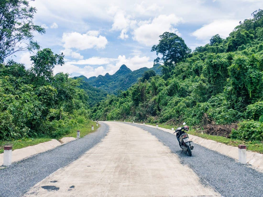 My lone scooter on the Ho Chi Minh Highway, Phong Nha, Vietnam (2017-06)