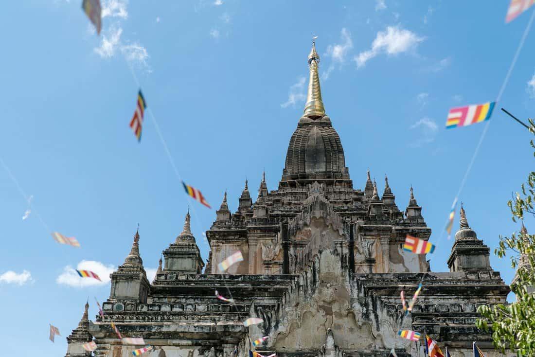 Bagan temple with Myanmar flags