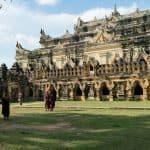 Monks taking pictures at Mae Nu Oak Kyaung (Brick Monastery), Inwa, Mandalay, Myanmar (2017-09)