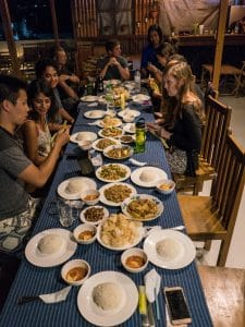 Joint guest dinner at Song of Travel hostel, Inle Lake, Myanmar (2017-10)