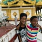 Two boys at Shwedagon Pagoda, Yangon, Myanmar - 20171016-DSC01933