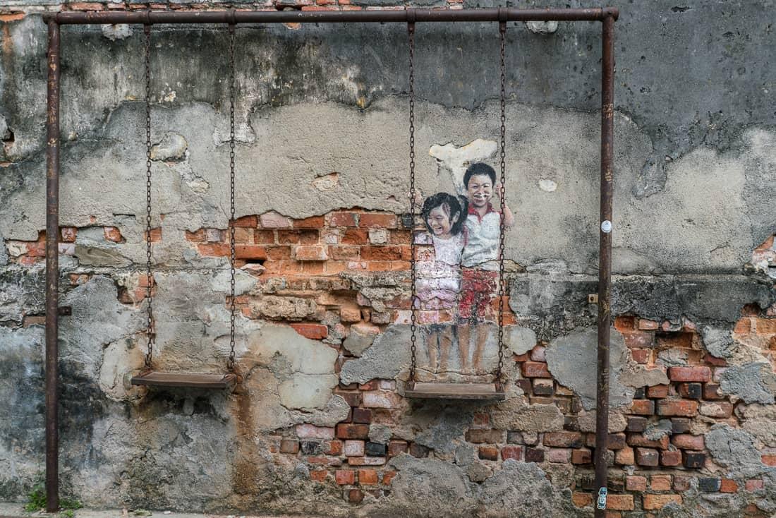 Penang Street Art: Kids on Swing, George Town, Malaysia - 20171222-DSC03087