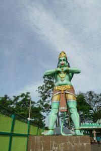 Monkey-faced Hindu God Hanuman outside Ramayama Cave, Batu Caves, Kuala Lumpur, Malaysia - 20171231-DSC03224