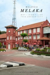"""I didn't like Melaka - as much as Penang. Let me tell you why - despite some glimpses of delicious Nyonya food, heritage architecture, cute coffee shops, and museums galore - this UNESCO World Heritage Site just made me say """"Meh."""" #malaysiatrulyasia #destinationguides"""