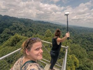 Carola on top of Belalong Canopy Walk during Ulu Temburong National Park tour, Brunei
