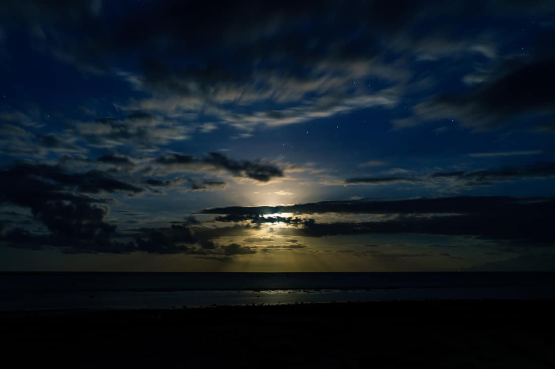 Full moon off the Beloi beach, Atauro, East Timor