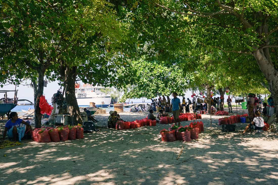 Saturday market sea weed vendors, Beloi, Atauro, East Timor