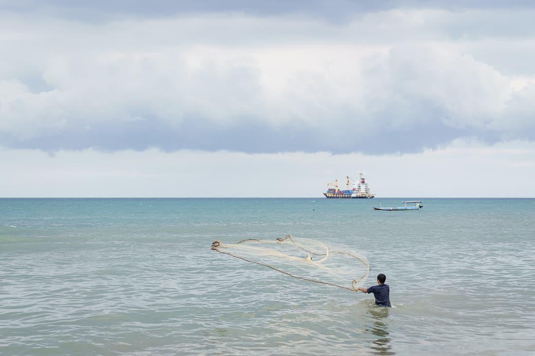 Fisherman off the Dili beach, East Timor
