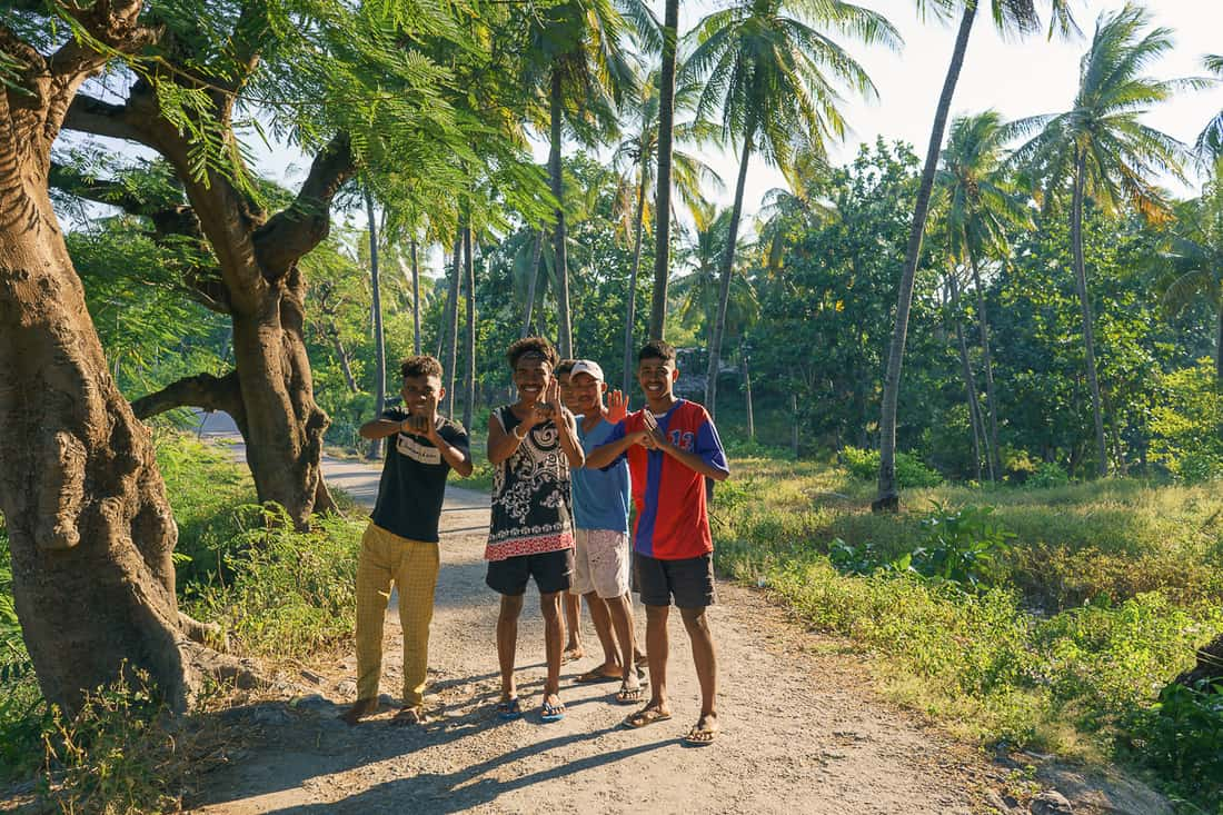 Kids on the way to Baucau beach, East Timor