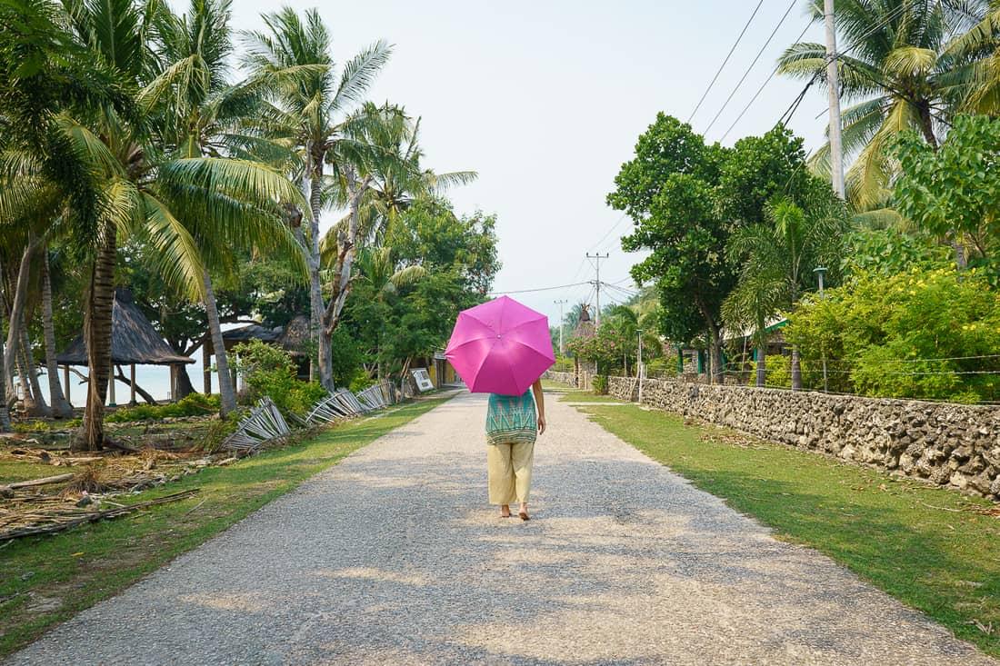 Carola on the main road in Com, East Timor