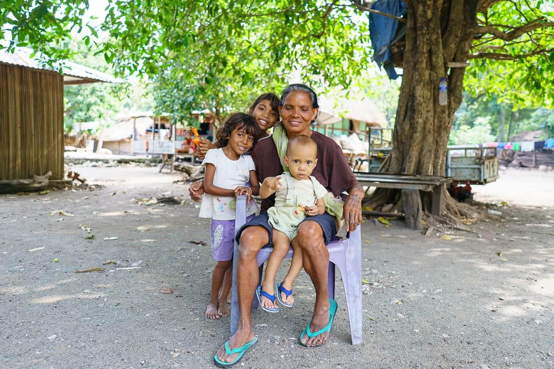 Grandma and grandchildren at Suai Loro village, East Timor