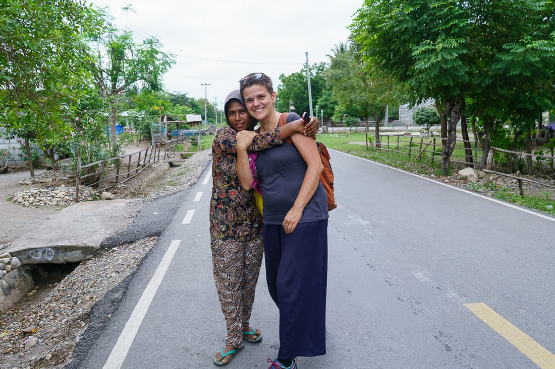 Carola makes a friend at Suai Loro village, East Timor