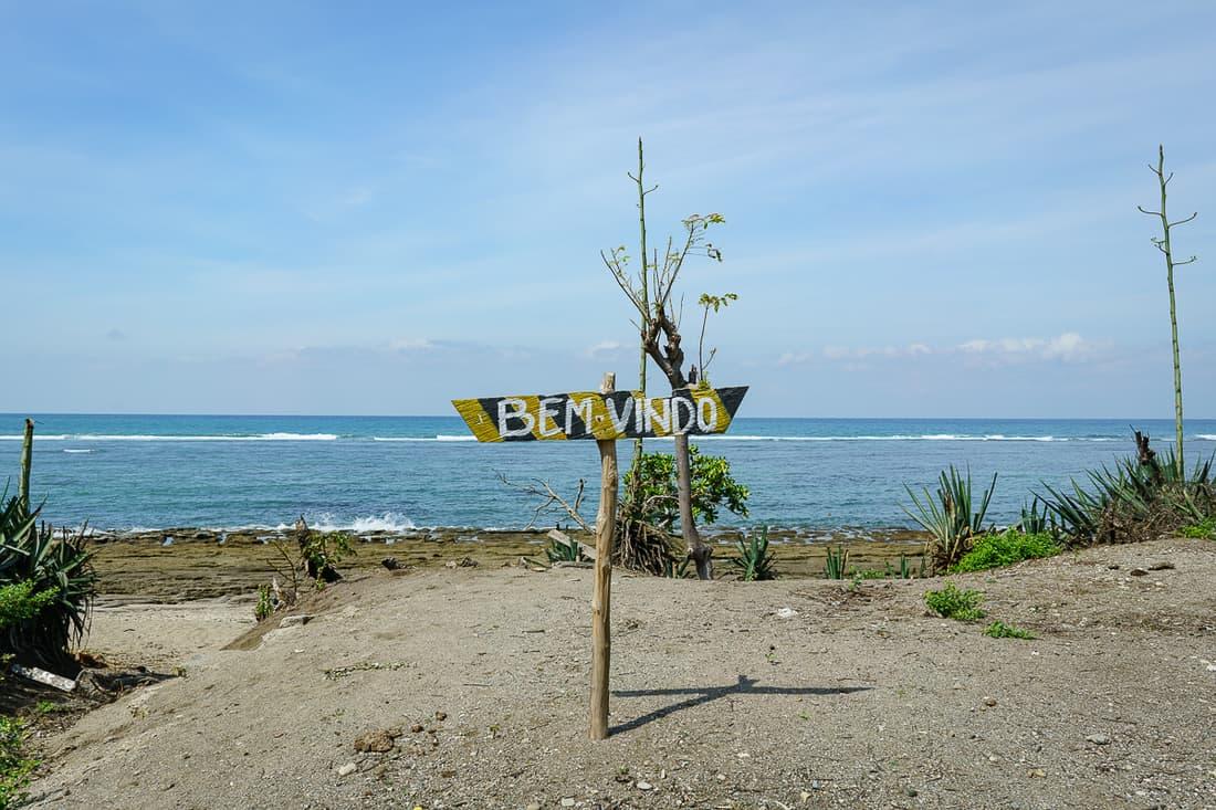 Suai beach welcome sign, East Timor