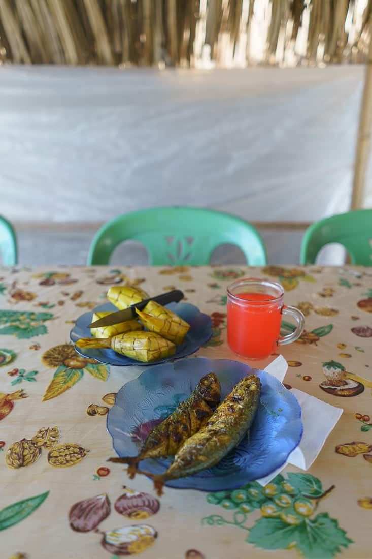 Fish and rice lunch at Suai beach, East Timor