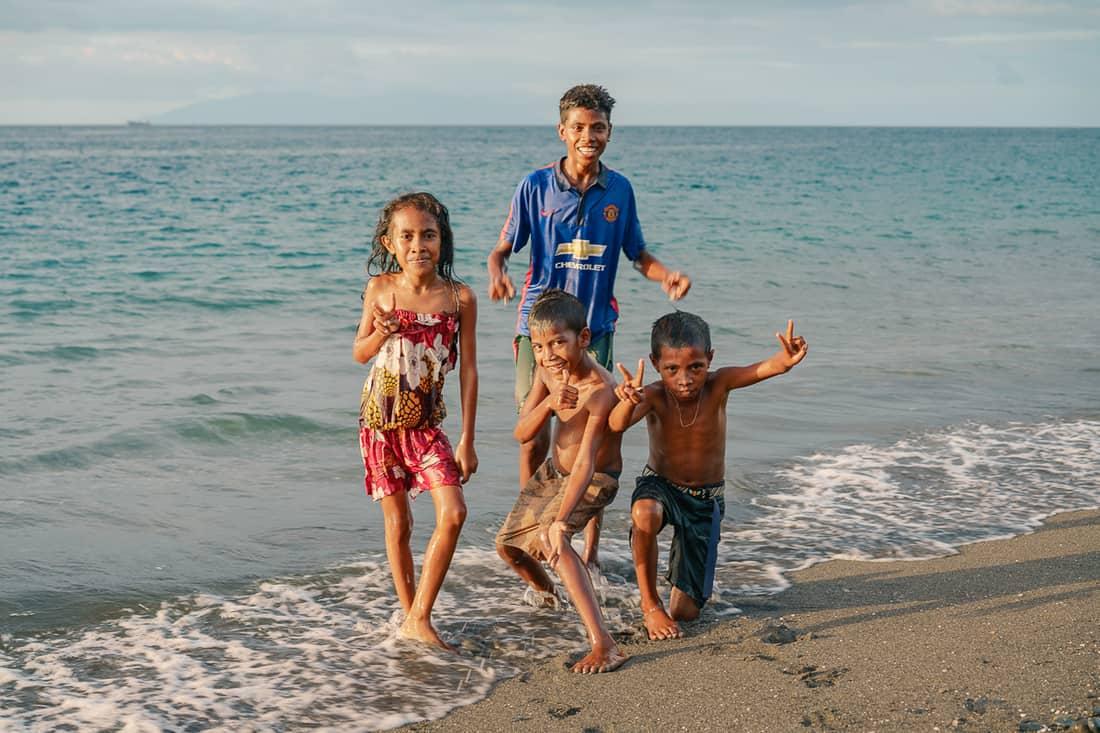 Kids at sunset on Liquica's Lauhata beach, East Timor