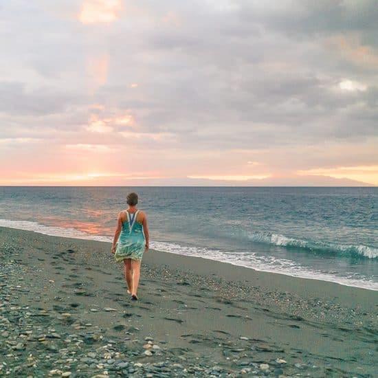 Carola at sunset on Liquica's Lauhata beach, East Timor