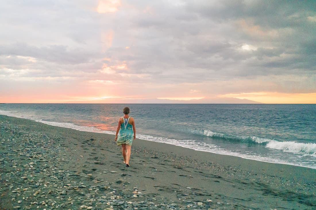 Carola at sunset on Liquica's Lauhata beach, East Timor