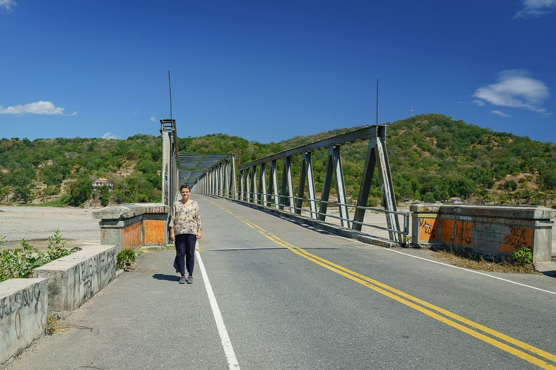 Carola at Loes bridge, East Timor